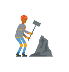 male miner in uniform working with hammer vector image
