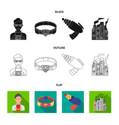 Man young glasses and other web icon in cartoon vector