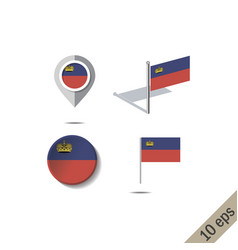 Map pins with flag liechtenstein vector