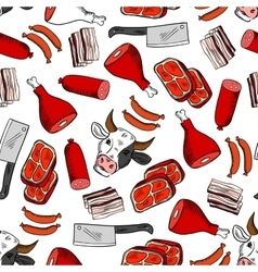 Meat cuts seamless pattern for butcher shop design vector