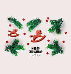 merry christmas and happy new year design with vector image