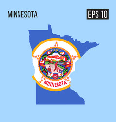 Minnesota map border with flag eps10 vector