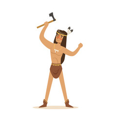 native american indian in loincloth standing with vector image vector image