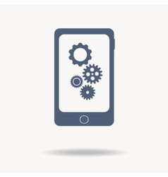 phone with gears and cogs Flat icon One of set vector image