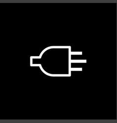 plug line icon on black background black flat vector image