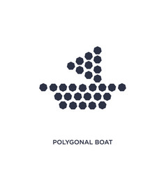 Polygonal boat small triangles icon on white vector