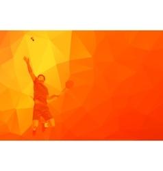 Polygonal professional badminton player on vector
