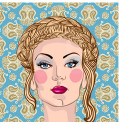 portrait of a beautiful blond woman vector image