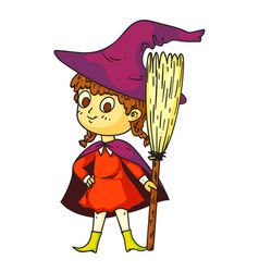 pretty halloween little witch with broom on white vector image