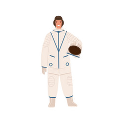 professional cosmonaut in uniform young smiling vector image