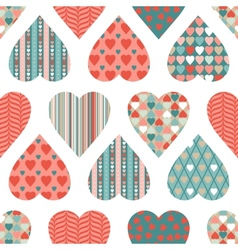 seamless pattern valentines day in retro style vector image