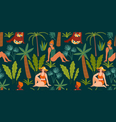 seamless pattern with women in swimsuit and vector image