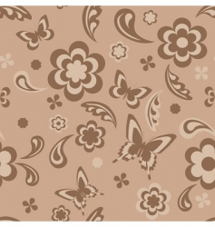 seamless with flowers and butterflies vector image