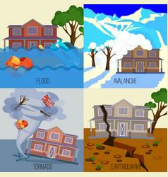 set natural disasters banners tornado vector image