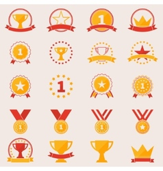Set of awards and victory icons vector image