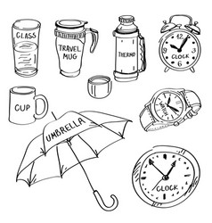 set of hand drawn different items doodles isolated vector image