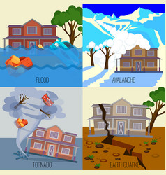 Set of natural disasters banners tornado vector