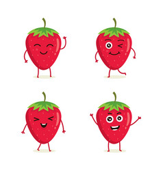 set strawberry fruit character vector image
