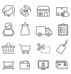 shopping retail and online e-commerce line icon vector image