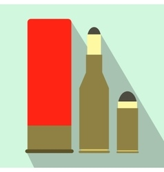 Shotgun shell and bullets flat icon vector image