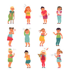 sick kids children with headaches little kid ill vector image