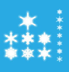 snowflakes isolated set white neon light snow vector image
