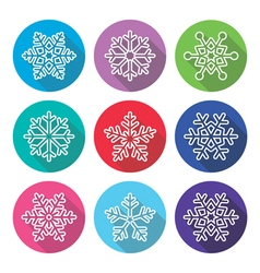 Snowflakes winter flat design long shadow icons vector image