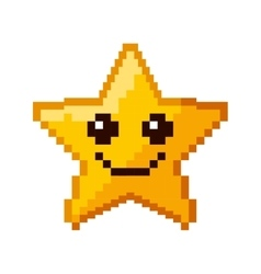 Star game pixelated icon vector