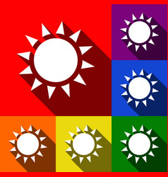 sun sign set of icons with vector image