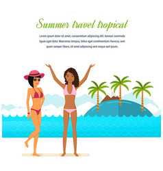 Tanned girls in bikini rest during a vacation vector
