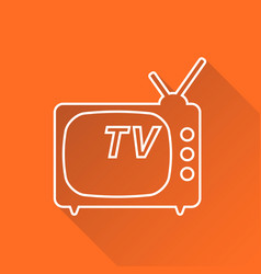 tv icon in line style isolated on orange vector image