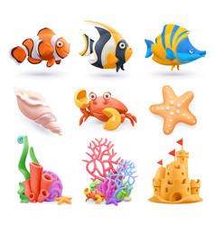 underwater world cartoon icon set tropical fish vector image