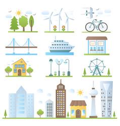 urban city landscape design elements set in trendy vector image