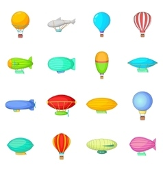 Vintage balloons icons set cartoon style vector