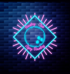 vintage bowling emblem glowing neon sign vector image