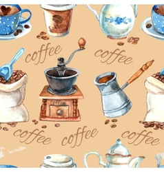 Vintage coffee set items seamless pattern vector image
