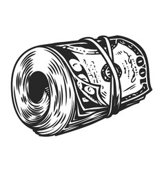 Vintage money roll template vector