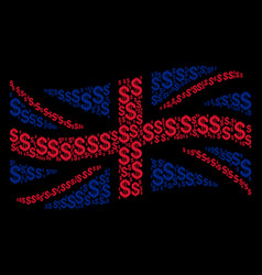 waving great britain flag pattern of dollar icons vector image
