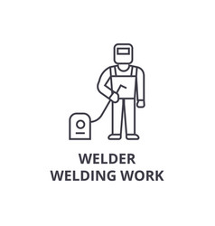 welder welding work line icon sign vector image