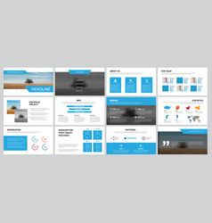 white business slides with blue elements for vector image