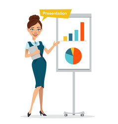 Woman with digital tablet standing near flipchart vector