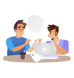 Young men talking at cup of tea and laptop vector