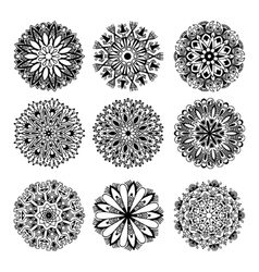 black and white circle lace pattern collection vector image vector image