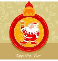 christmas ball postcard santa claus vector image vector image