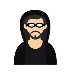 criminal wearing hoodie and mask icon image vector image