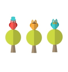 Flat of three owls sitting on trees vector image vector image