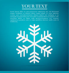 snowflake flat icon on blue background vector image vector image