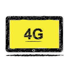 Tablet computer with 4G sketch design vector image