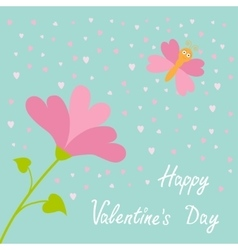 love card Heart flower Flying butterfly vector image vector image