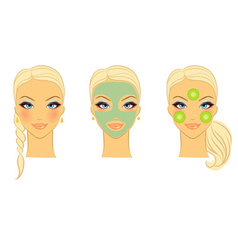 womans front face care vector image